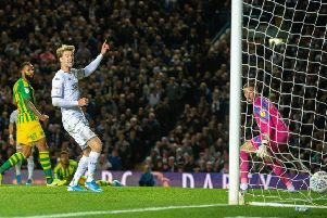Ezgjan Alioski's shot finds the back of the net. for Leeds United against West Brom. ('Picture: Bruce Rollinson)