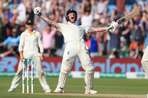 HERO STATUS: England's Ben Stokes, celebrates hitting the winning runs in the third Ashes Test match at headingley earlier this year. Picture: Mike Egerton/PA Wire.