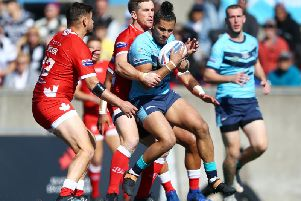Featherstone Rovers' Jordan Tansey in action against Toronto in the Championship Grand Final. (PIC: Vaughn Ridley/SWpix.com)
