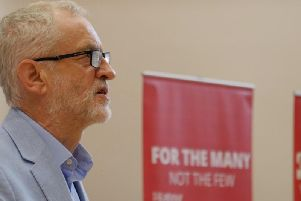 Jeremy Corbyn addresses Labour supporters at an event at Rodillian Academy in Lofthouse, near Leeds