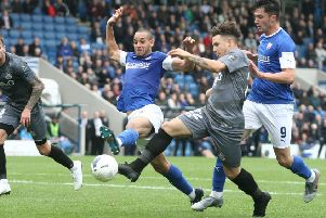 Chesterfield v Eastleigh, Curtis Weston is denied in injury time