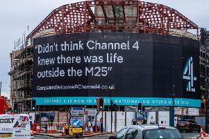 The Channel 4 banner on the Majestic in Leeds. Picture: James Hardisty.