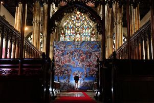 Michelangelo 'A Different View' exhibitiion comes to Hull Minster. Representations of the Italian Renaissance artist, which adorn the Sistine Chapel. Picture: Simon Hulme
