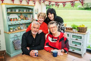 Pictured: (Front row) Paul Hollywood and Prue Leith; (Back row) Sandi Toksvig and Noel Fielding.  PA Photo/Channel 4/� Love Productions/Mark Bourdillon.
