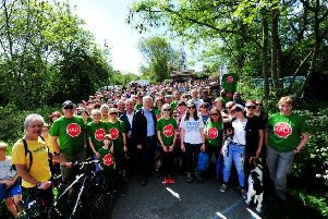 MP Andrew Jones with anti relief road protesters earlier this year. PIcture: Gerard Binks