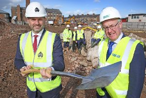 Wykeland managing director Dominic Gibbons, left, and Hambleton District Council leader coun Mark Robson mark the start of construction of the �17m transformation of the former Northallerton Prison site. Picture: Nigel Whitfield Photography.