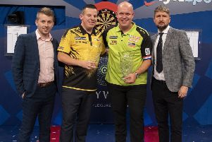 Dave Chisnall was beaten by Michael van Gerwen in Saturday's BoyleSports World Grand Prix final      Picture: Lawrence Lustig/PDC