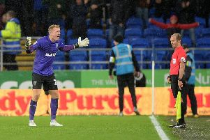 An angry Owls keeper Cameron Dawson unhappy with Cardiff's equaliser. Picture: Steve Ellis