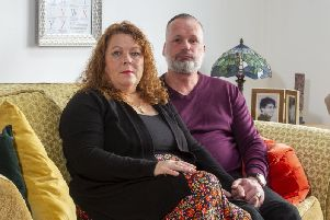 Andrew and Joanne Doody from Wyke, with a portrait of their son Peter who died suddenly in May, at the age of 21. His parents, forming the Peter Doody Foundation, hope to raise awareness of sudden death from epilepsy and support other families. Picture Tony Johnson
