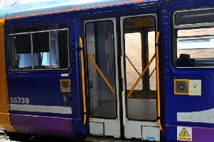 A Pacer train with its original 1980s folding doors