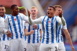 Goal: Huddersfield's Karlan Grant celebrates his goal against Barnsley. Picture: Graham Crowther