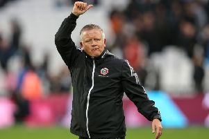 Sheffield United manager Chris Wilder gestures to the away fans after the Premier League match at the London Stadium. Picture: James Wilson/Sportimage