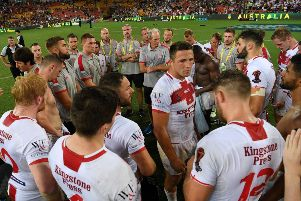 England's Sam Burgess speaks to his team after the final of the 2017 Rugby League World Cup at the Suncorp Stadium, Brisbane. Picture: Grant Trouvilles/NRL Imagery/PA.