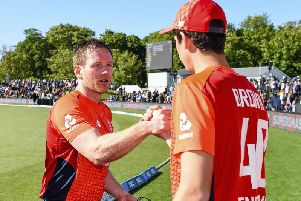Well done: England's Eoin Morgan, left, and Pat Brown celebrate after winning the T20 international against New Zealand at Hagley Oval, in Christchurch.