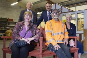 Pictured at Ashfield Community Enterprise are Couns David Walters and Jason Zadrozny (back), with Teresa Jackson, manager of Ashfield Voluntary Action, volunteer Leonard Allchorne, and Gillian Welch, the council's senior community engagement officer.
