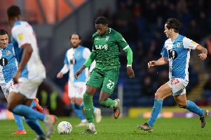 Sheffield Wednesday defender Dominic Iorfa runs at the Blackburn Rovers defence. Picture: Steve Ellis