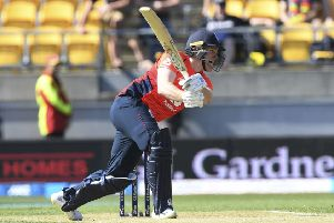 FRUSTRATION: England captain Eion Morgan bats against New Zealand in Wellington on Sunday. Picture: AP/Ross Setford.