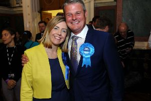 Tory MP Stuart Andrew narrowly held onto his Pudsey seat in the 2017 election - he is pictured with Morley and Outwood MP Andrea Jenkyns.