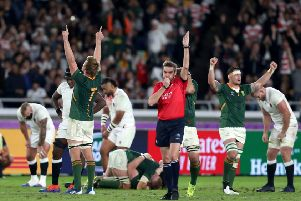 South Africa's Pieter-Steph du Toit celebrates at the final whistle of the 2019 Rugby World Cup final.