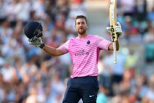 Dawid Malan celebrates a century during the Vitality Blast match between Surrey and Middlesex at The Kia Oval in July. Picture: Jordan Mansfield/Getty Images