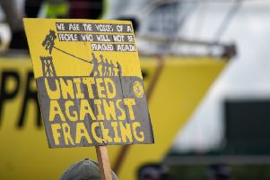 An anti-fracking protest sign.