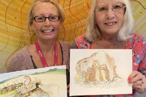 Tracey  Barker, left, with Pamela Redfern who has illustrated Dust Puppy the Prairie Dog