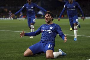 Reece James celebrates scoring for Chelsea against Ajax in the Champions League