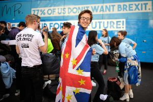 """Students and young people gather in Smith Square during an """"Our Future, Our Choice"""" event to raise awareness of the desire for a further referendum on the future of Britain's membership of the European Union, on February 27, 2019 in London. Photo by Leon Neal/Getty Images."""