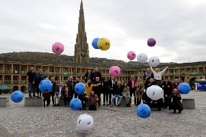 Lottery winners celebrate on the National Lottery 25th anniversary at the Piece Hall, Halifax. Picture by Simon Hulme