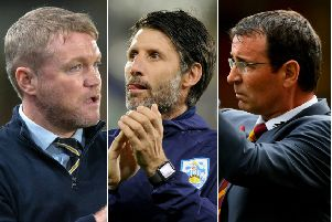 Hull City's Grant McCann, Huddersfield Town's Danny Cowley and Bradford City's Gary Bowyer
