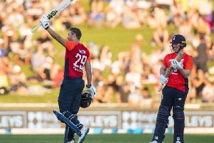 Century salute: Dawid Malan after completing his 100.