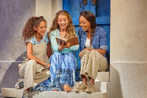 A scene from the musical Mamma Mia! which is currently at the Alhambra Theatre in Bradford.