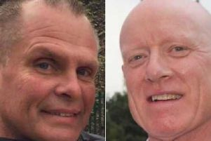 Lee Roberts (left) remains in hospital after a crash outside Wetherby Racecourse which killed his friend Adrian Scott (right). Photos provided by West Yorkshire Police.