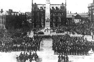 Unveiling ceremony for Preston War Memorial on June 13, 1926 performed by Earl Jellicoe