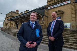 Antony Calvert, Conservative parliamentary candidate for Wakefield pictured with Chris Grayling, then Secretary of State for Transport, at Wakefield Kirkgate Station in 2017. Photo: JPI Media