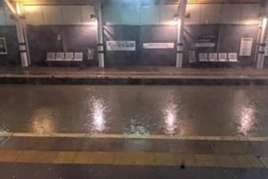 Northern released this image of a flooded platform along with information about train delays and cancellations. Credit: Northern
