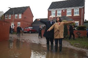 Labour leader Jeremy Corbyn and Labour MP Caroline Flint during a visit to Conisborough, South Yorkshire, where he met residents affected by flooding. Picture: Danny Lawson/PA Wire