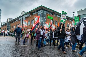 Hundreds of workers and union members from Asda protested through the streets of Leeds against new contracts they say will make them worse off. Credit: James Hardisty