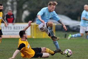 Joe Ashurst (sky blue), who fired a hat-trick in Hucknall Town's easy win.