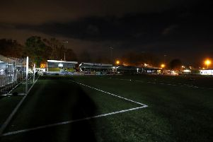 Harrogate Town's Wetherby Road ground is cloaked in darkness before kick-off in their FA Cup first-round tie