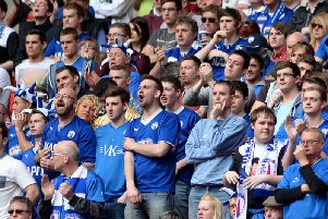 Spireites fans travel up and down the country in big numbers. Here Town fans are pictured at Wembley in the 2014 JPT final vs Peterborough United.