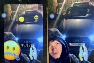 Online boast: Allworks face was obscured with an emoji when the picture of him beside a stolen Audi appeared online. Police found the original unedited image of him when they seized one of his accomplices phones.