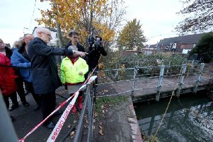 Labour Party leader Jeremy Corbyn (left) with former Labour leader Ed Milliband (right) are shown the water level in Bentley, Doncaster, South Yorkshire, during General Election campaigning. Pic: PA
