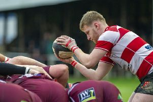 Cleckheaton's Tom Breakwell feeds a scrum during last week's clash against local rivals Morley. Picture: Scott Merrylees.