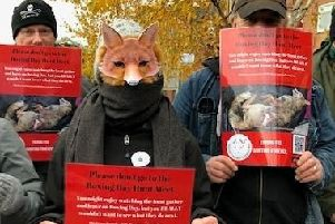 Animal rights campaigners stood outside Chesterfield magistrates' court during the on-going trial of Barlow Hunt Chairman Mark Davies. Mr Davies denies two counts of assault against anti-hunt campaigners.