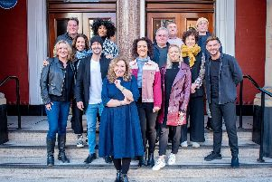 Kay Mellor with the cast of her new stage adaptation of Band of Gold at Leeds Grand Theatre.