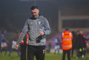 """Picture Greg Dunbavand/AHPIX LTD, Football, Sky Bet League Two, Macclesfield Town v Mansfield Town, Moss Rose, Macclesfield, UK, 16/11/19, K.O 3pm''Mansfield manager John Dempster leaves the field after his side�""""s 0-0 draw away at Macclesfield.''Howard Roe>07973739229"""