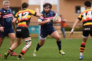 Robin Hislop: Doncaster Knights prop left the field with suspected concussion.