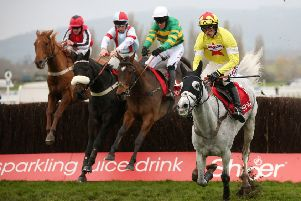 Defi Du Seuil ridden by Barry Geraghty (second right) on his way to winning the Shloer Chase  during the November Meeting at Cheltenham. Picture: Nigel French/PA Wire.