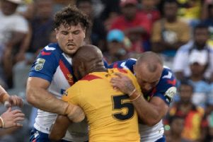 Damage done: Great Britain Lions found themselves tied up by Papua New Guinea in their tour finale. (Picture: SpiderTekPNG/Duco/SWpix.com)